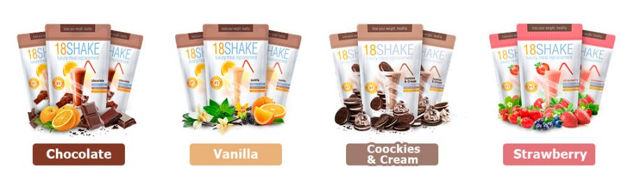 18 shake flavours