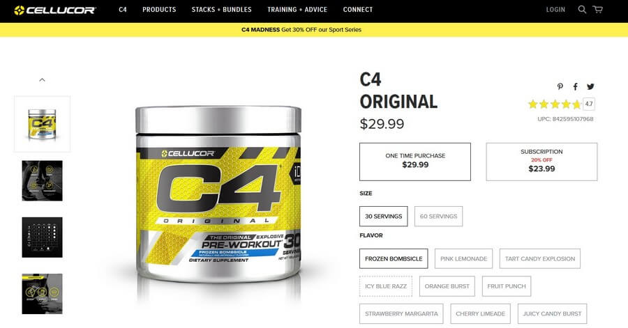 cellucor c4 pre workout official website