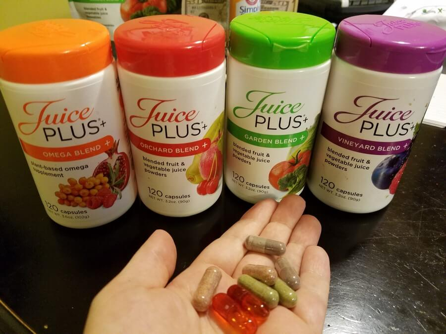 Juice Plus pills on hand